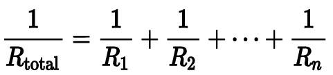 Fórmula para calcular la resistencia en paralelo.